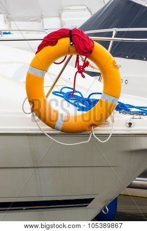 Yachting, Blue And Red Rope With Orange Lifebuoy On Sailboat