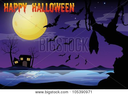 Halloween theme with lake and bat flying illustration
