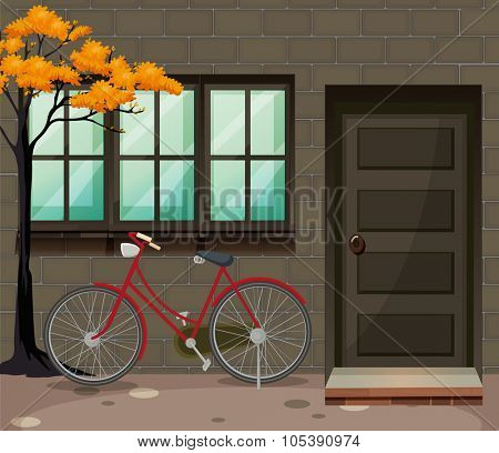 Bicycle parking outside the building illustration