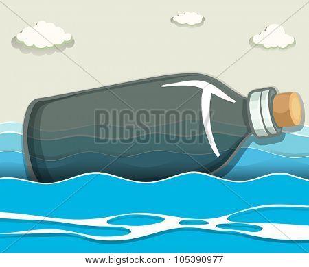 Empty bottle floating in the sea illustration