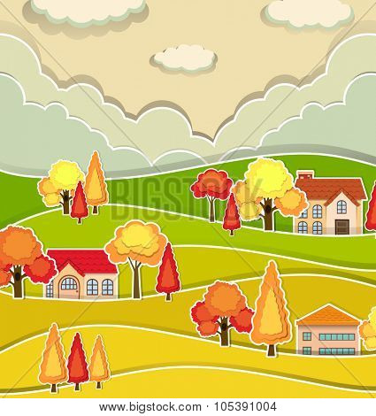 Countryside scene with houses and tree in autumn illustration