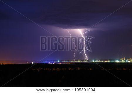 Night Thunder Lightning Over The City Sky