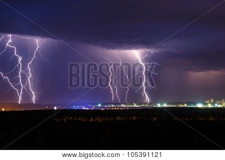 Night Thunder Lightning Over The City Sky