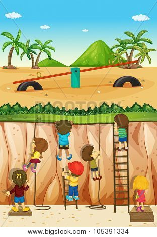 Children climbing up the cliff illustration