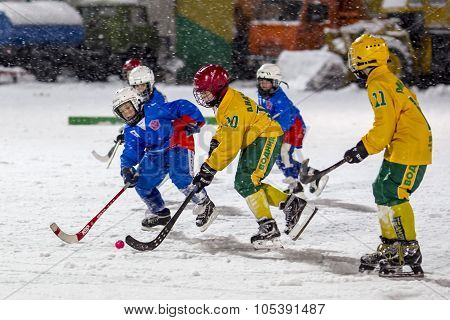 RUSSIA, ARKHANGELSK - DECEMBER 14, 2014: 1-st stage children's hockey League bandy, Russia