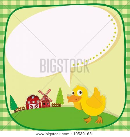 Border design with duckling on the farm illustration