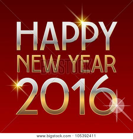 Vector Happy New Year 2016 greeting card with elegant chic golden font