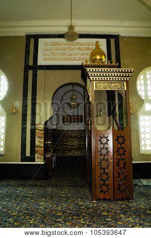 Interior of Ubudiah Mosque at Kuala Kangsar, Perak, Malaysia