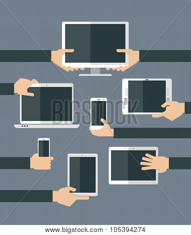 Set of high-tech devices. Vector illustration. Flat design illustration of hands holding different computer and communication devices.