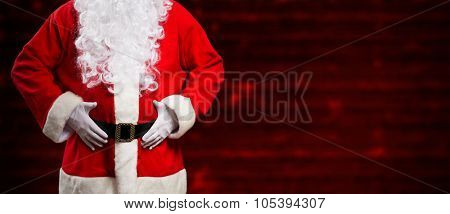 Santa Claus in front of a red background. Large copy-space