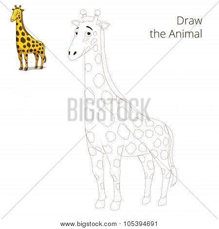 Draw the animal educational game giraffe