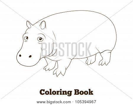 Coloring book hippopotamus african savannah animal