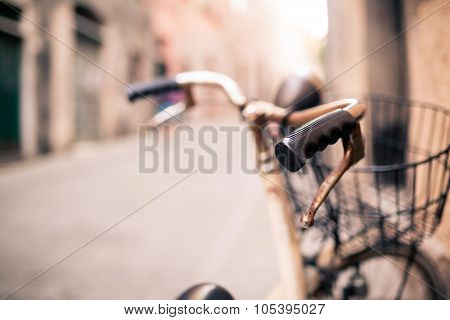 City Bicycle Handlebar, Bike Over Blurred Beautiful Bokeh Background