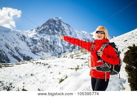 Woman Hiker Happy Walking In Himalaya Mountains, Nepal