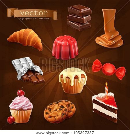Confectionery, vector set 3
