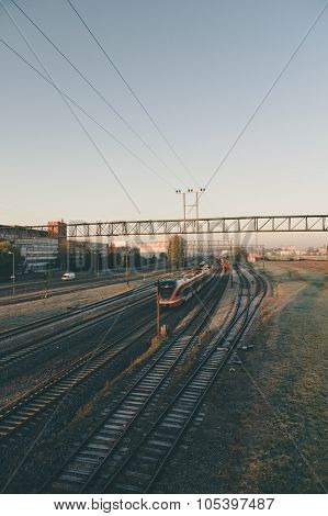 Motion Of Modern Electric Train At Dawn