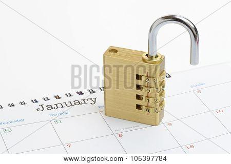 New Year Padlock On A Generic 2016 Calendar