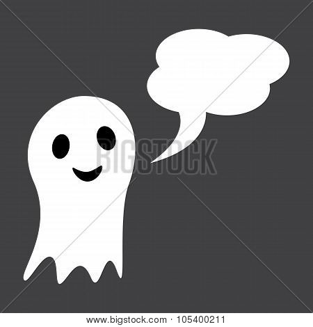 Cute Ghost With Speech Bubble