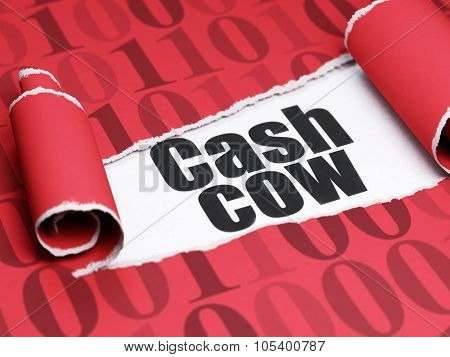 Finance concept: black text Cash Cow under the piece of  torn paper