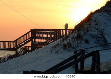 Sunset Boardwalks And Birdhouse