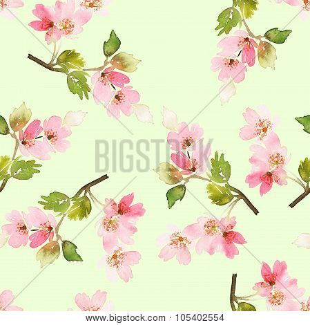 Flowers Seamless spring pattern. Watercolor painting.