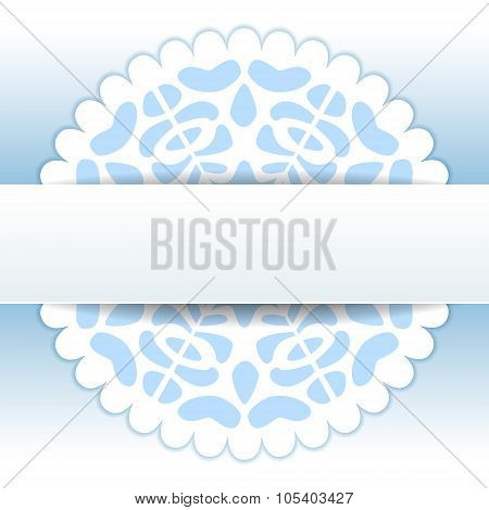 Christmas papercut doily snowflake greeting card template in blue and white, vector