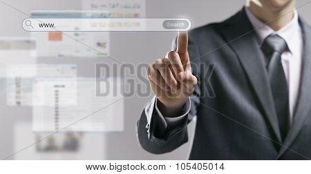 Businessman Using A Search Engine