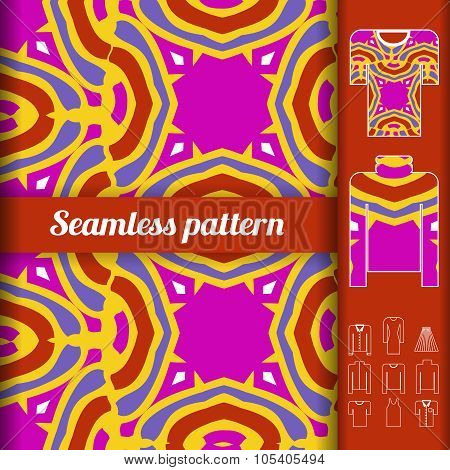 Trendy Bright Seamless Pattern With Examples Of Usage. Fashion Clothes Vector Illustration