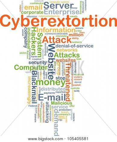 Background concept wordcloud illustration of cyberextortion