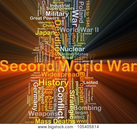 Background concept wordcloud illustration of Second World War glowing light
