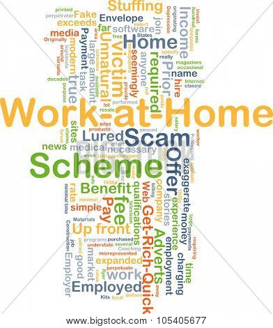 Background concept wordcloud illustration of work at home scheme