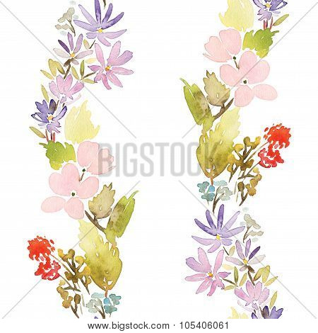 Seamless spring pattern. Watercolor painting. Well suited for the wrapping paper and tissue. Handmad
