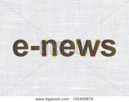 News concept: E-news on fabric texture background