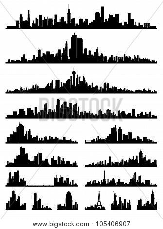 set of detailed city ??silhouette vector
