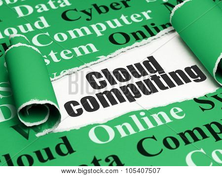Cloud networking concept: black text Cloud Computing under the piece of  torn paper