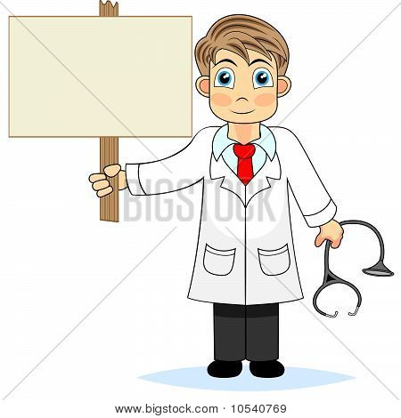 Cute boy doctor holding a blank wooden sign
