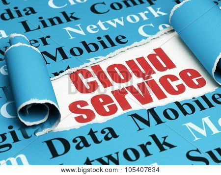 Cloud technology concept: red text Cloud Service under the piece of  torn paper