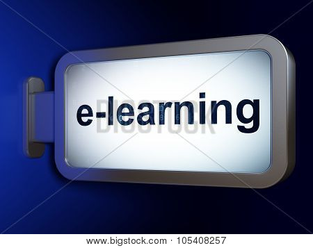 Learning concept: E-learning on billboard background