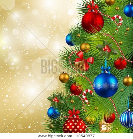 Christmas Background with Kugeln und Weihnachtsbaum
