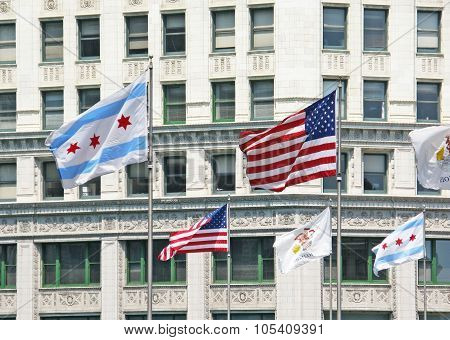 American Illinois and Chicago flags outside the Wrigley
