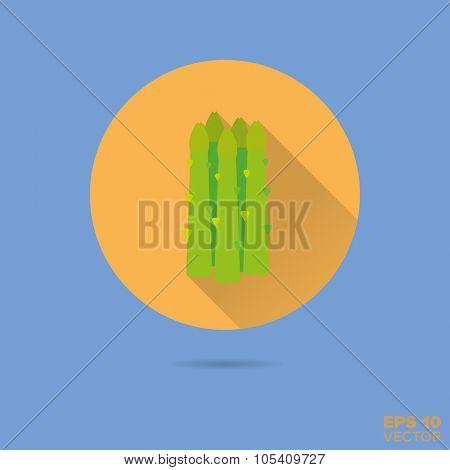 asparagus shoots flat design vector icon