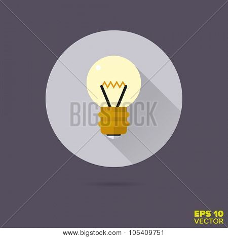 light bulb flat design vector icon