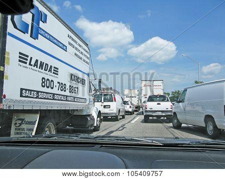 Freeway traffic jam