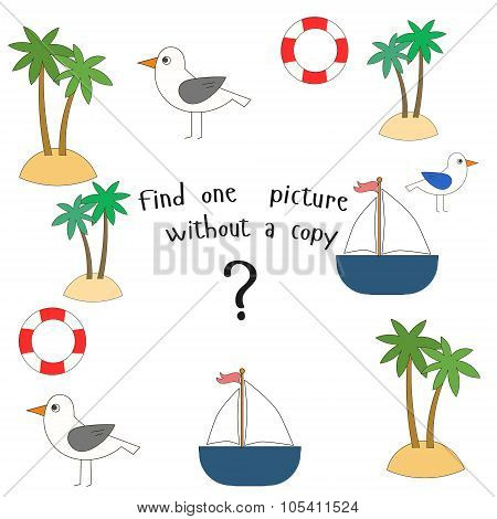 Educational game find picture without copy