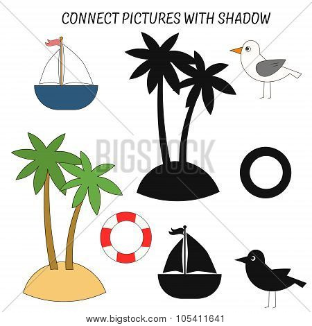 Educational game  connect with shadows