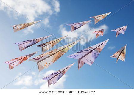 euro bill paper planes