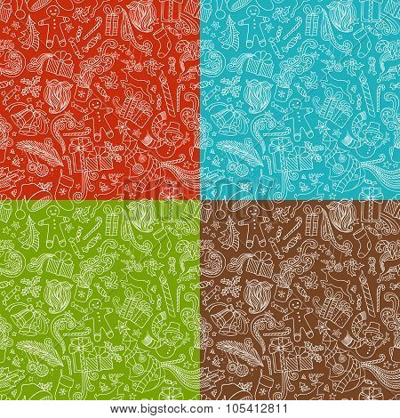 Vector Set Of Seamless Doodles Christmas Patterns.