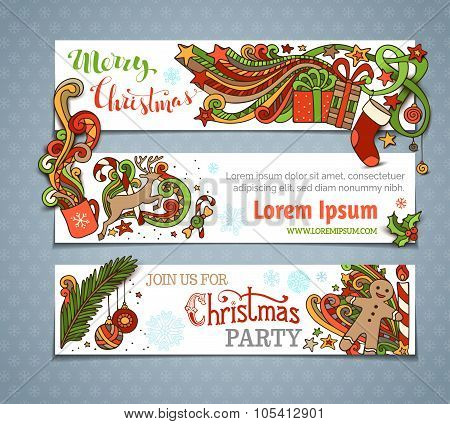 Vector Set Of Christmas Banners.