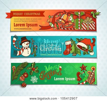 Vector Set Of Bright Christmas Horizontal Banners.