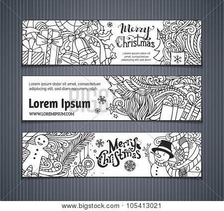 Vector Set Of Doodles Christmas Banners.